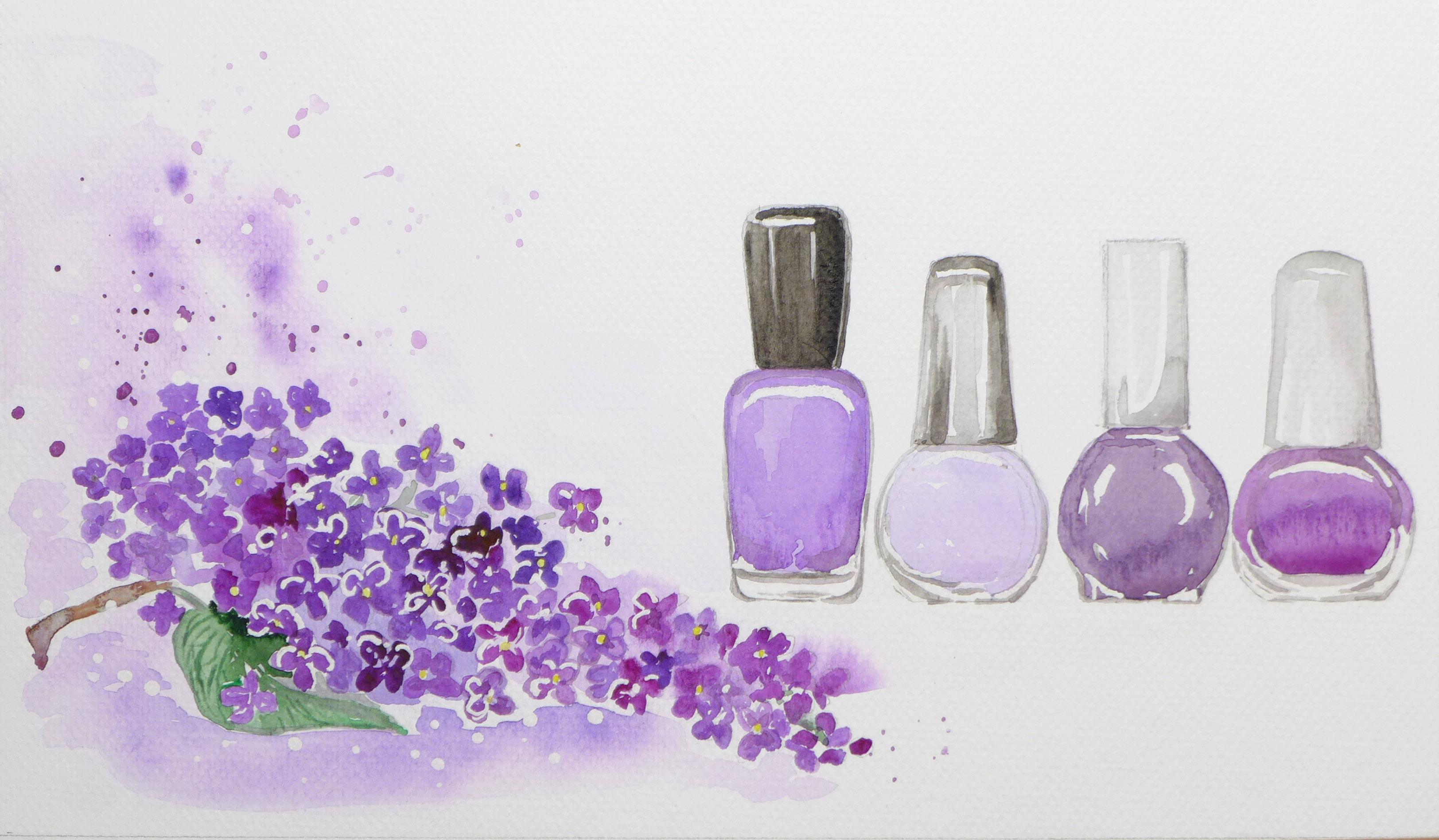Orgován a fialové laky & akvarel
