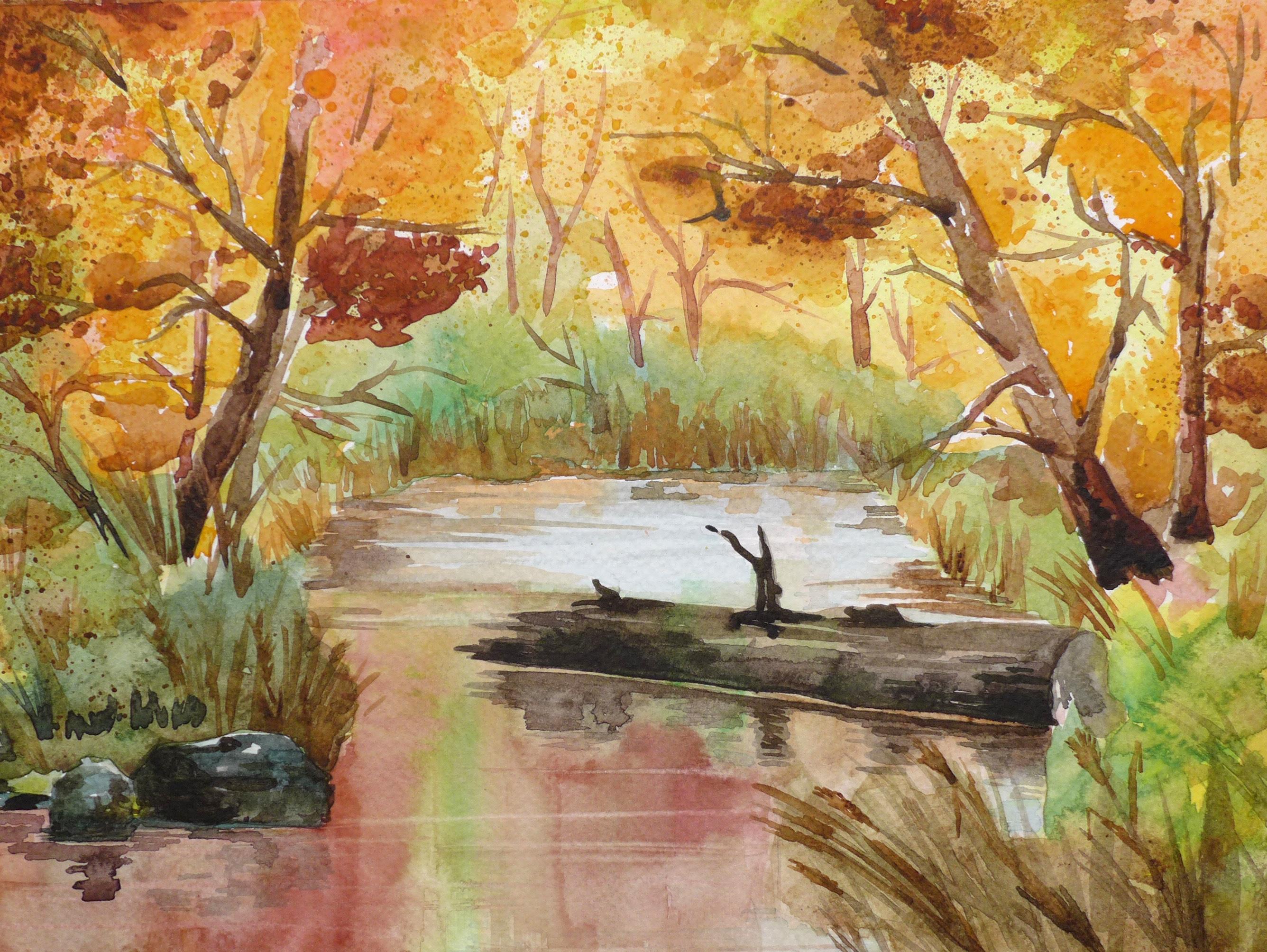 Jeseň – akvarel