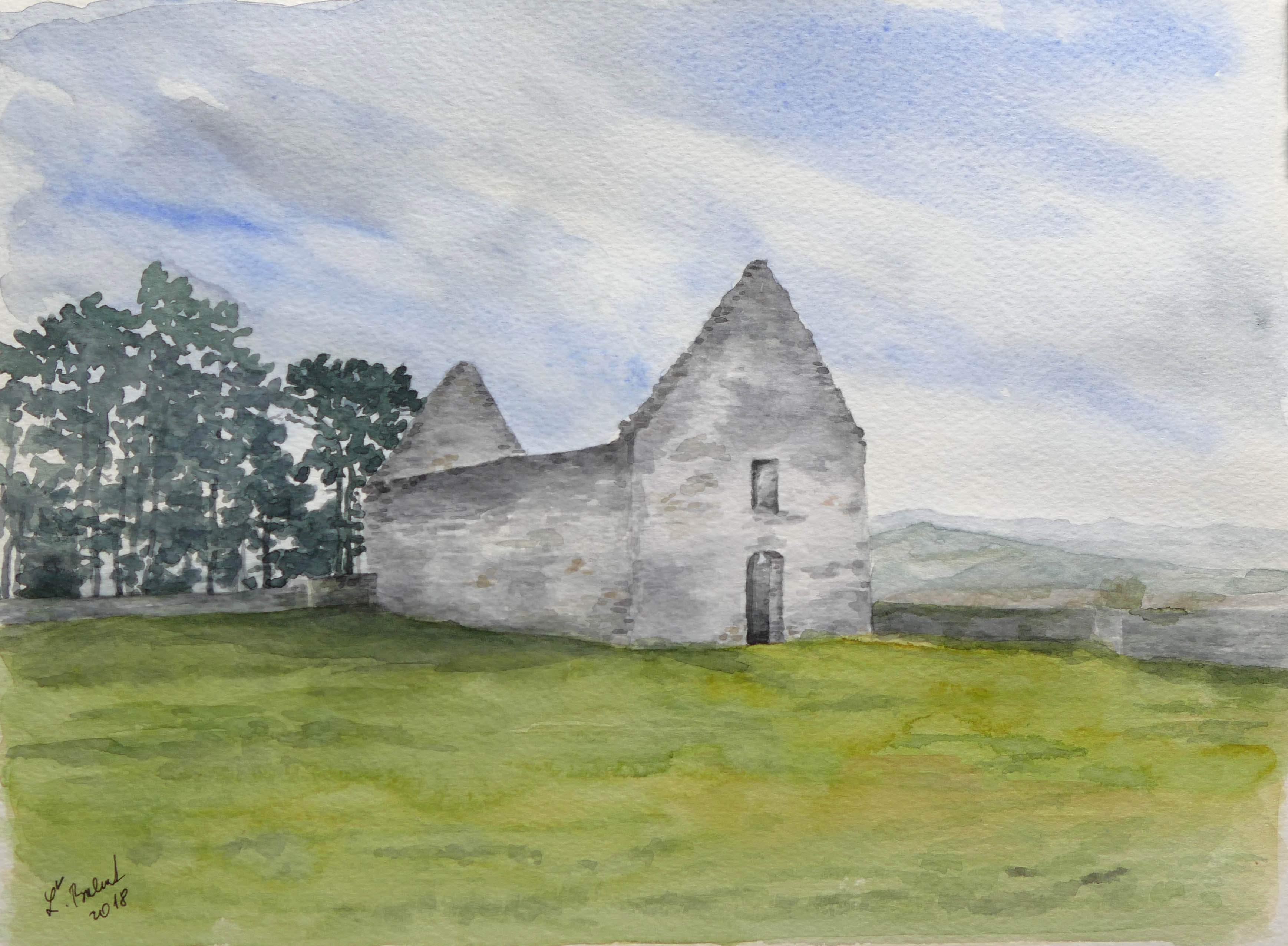 Zrúcanina románskeho kostolíka – akvarel