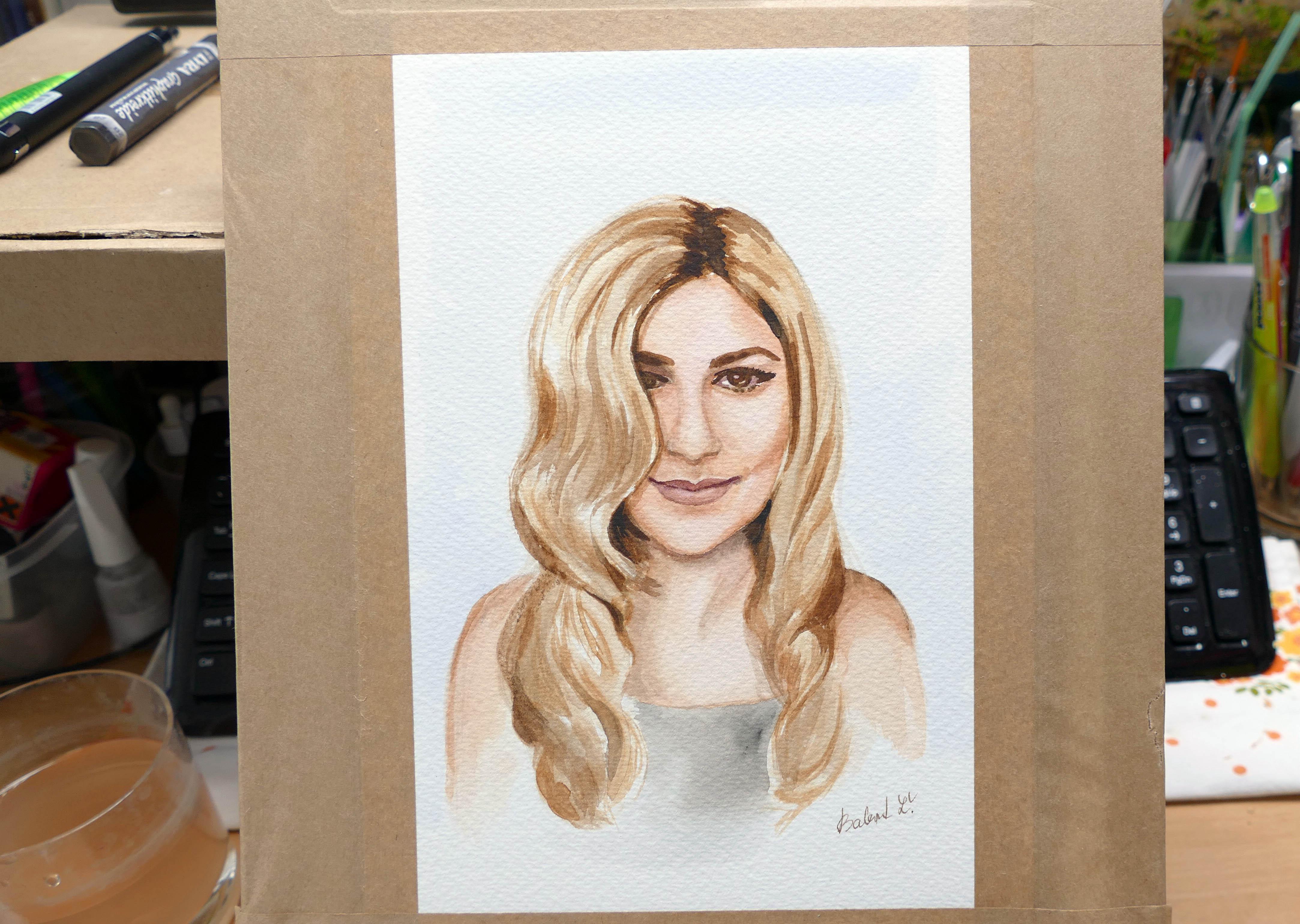 Cvičenie portrétu akvarelovými farbami