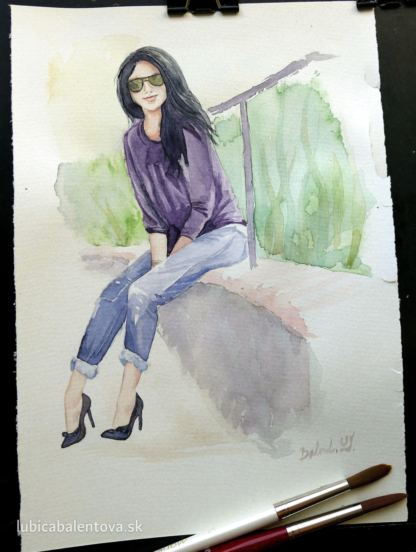 Dievča s okuliarmi – akvarel