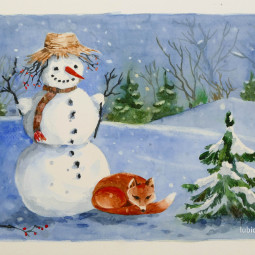 Snehuliak – akvarel