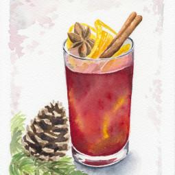 Vianočný punč – akvarel
