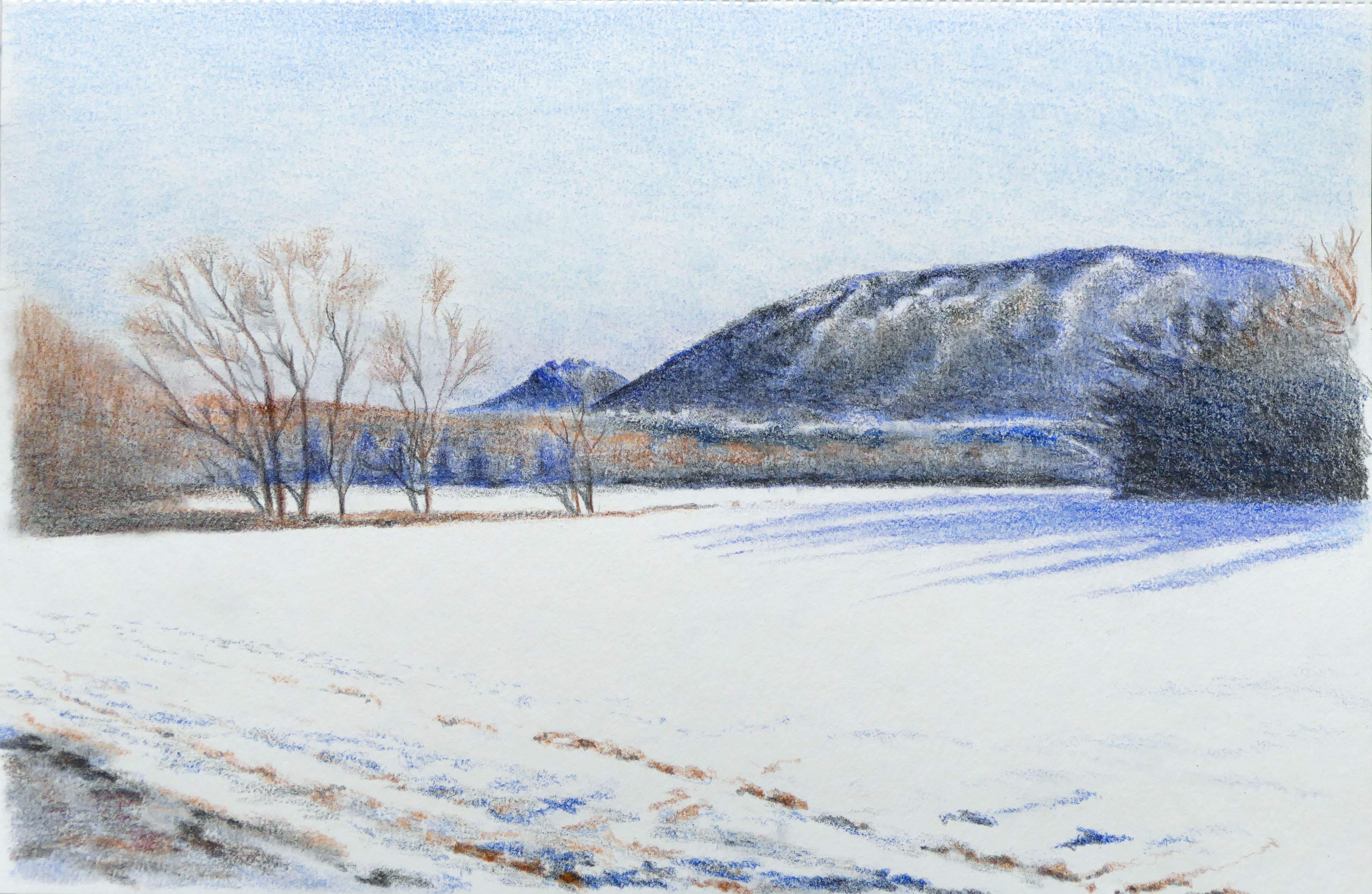Zimná krajinka – akvarelové pastelky