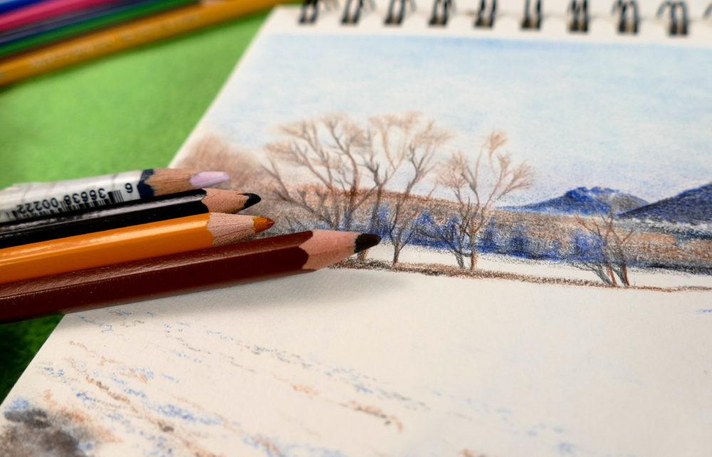 Akvarelovými pastelkami sa výborne kreslí v teréne.