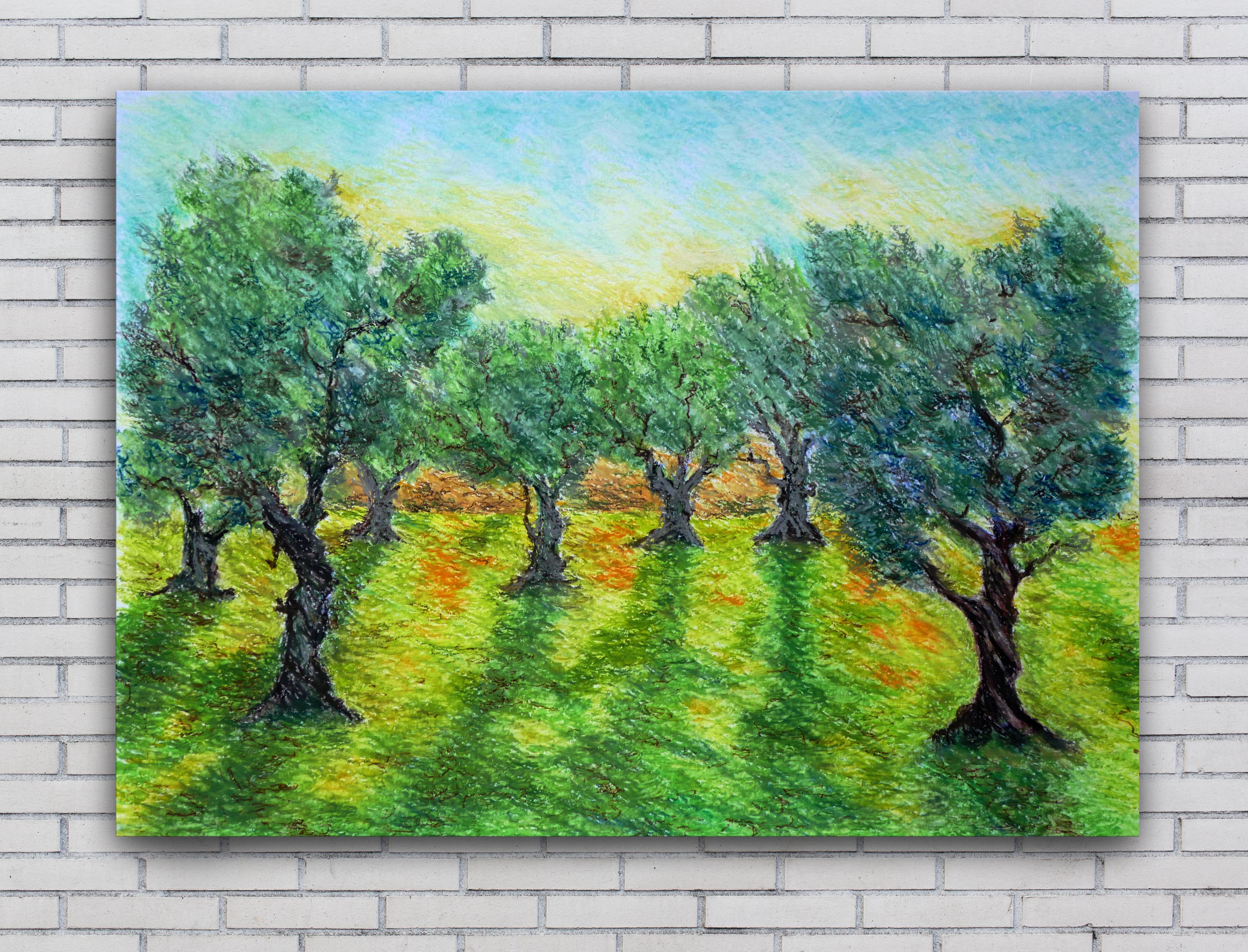 Olivový sad – olejový pastel