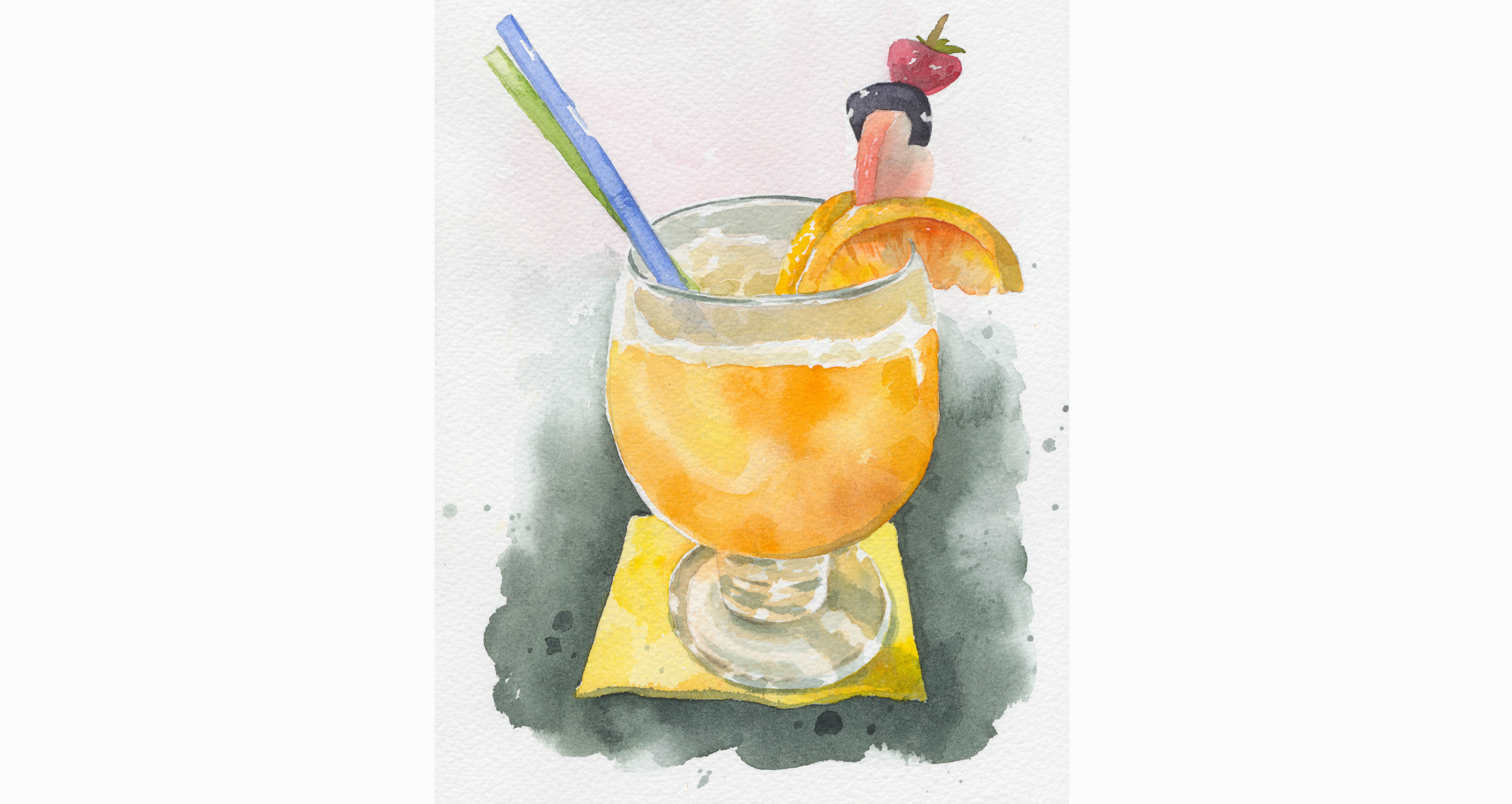 Pomarančový fresh – akvarel