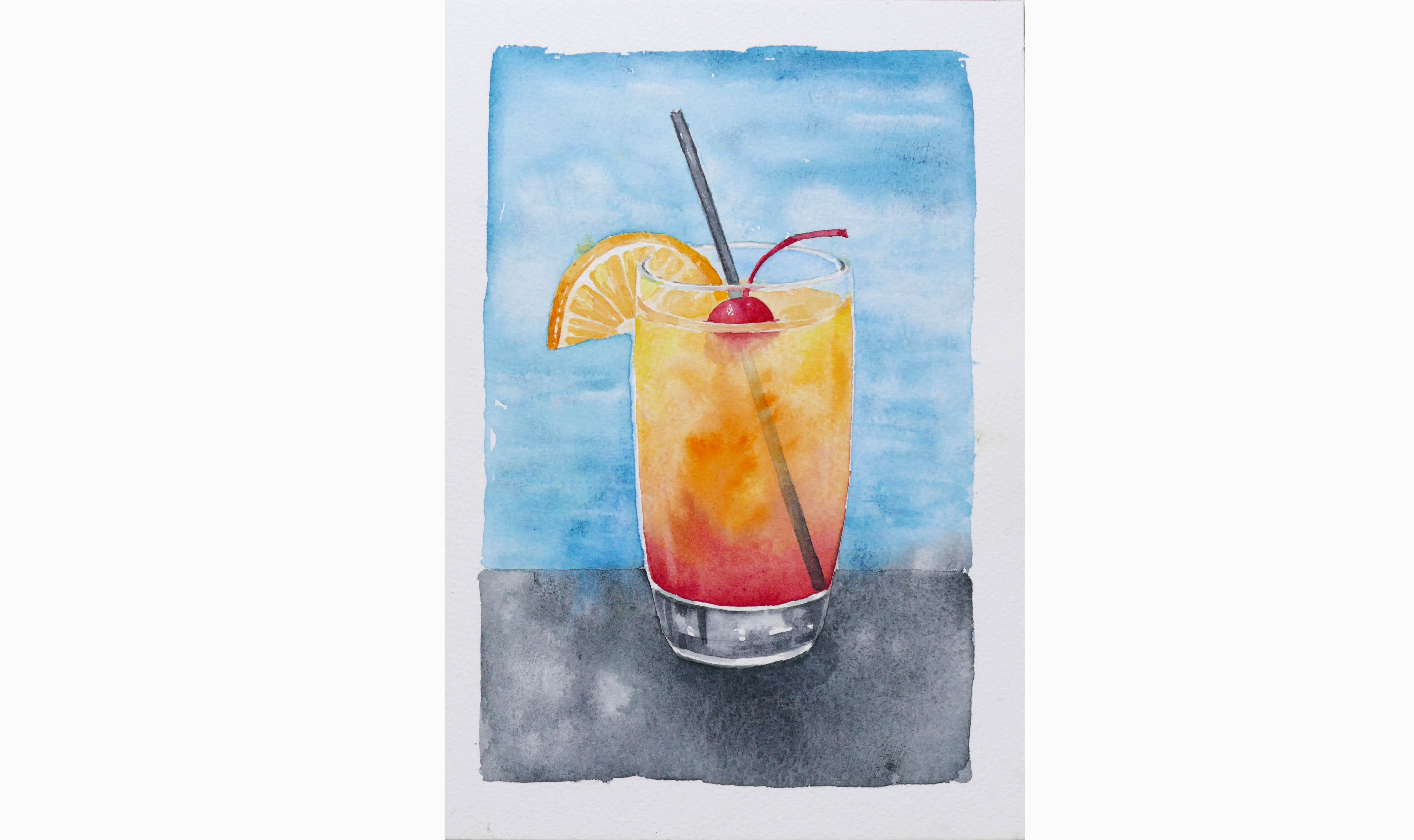 Letný nápoj  – akvarel