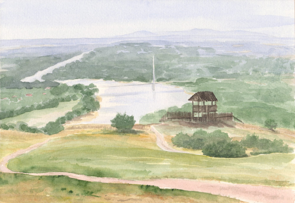 Akvarelový obraz - pohľad na Hainbugr z kopca Braunsberg