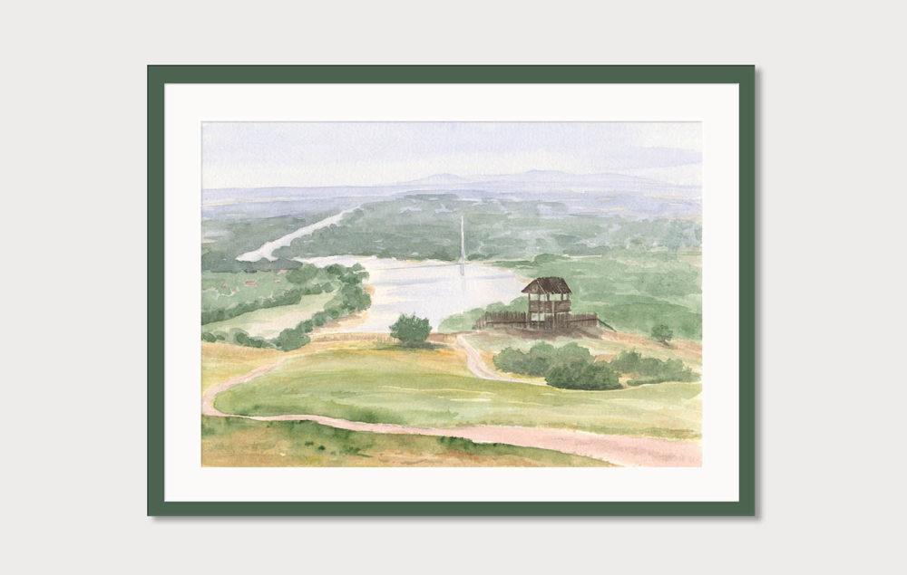 Akvarelový obraz - pohľad na Hainbugr z kopca Braunsberg. Takto by mohol vyzerať obraz v ráme na stene