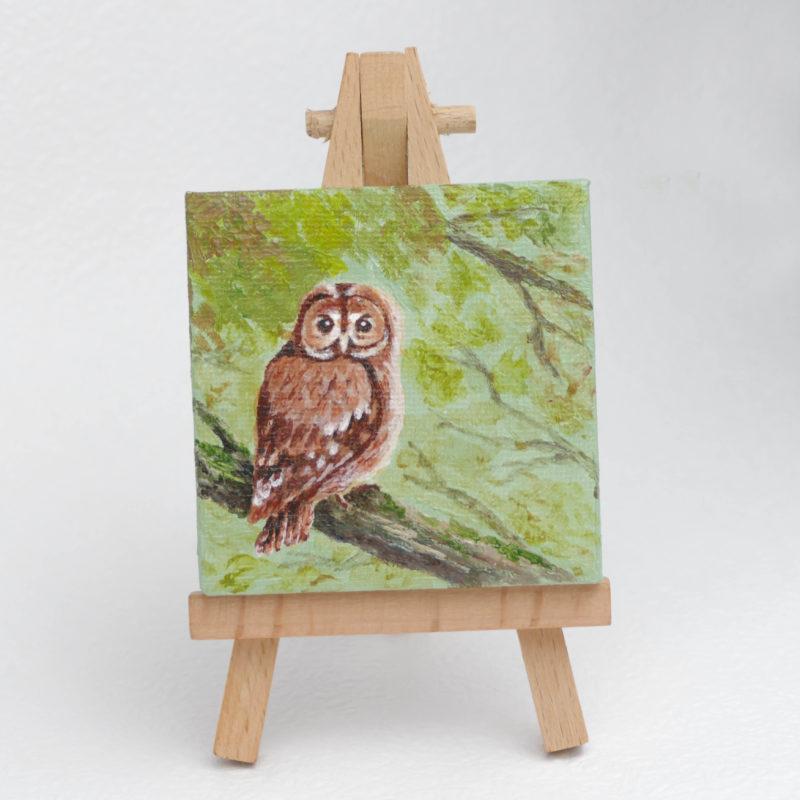Sovička - akrylová maľba, námet na darček