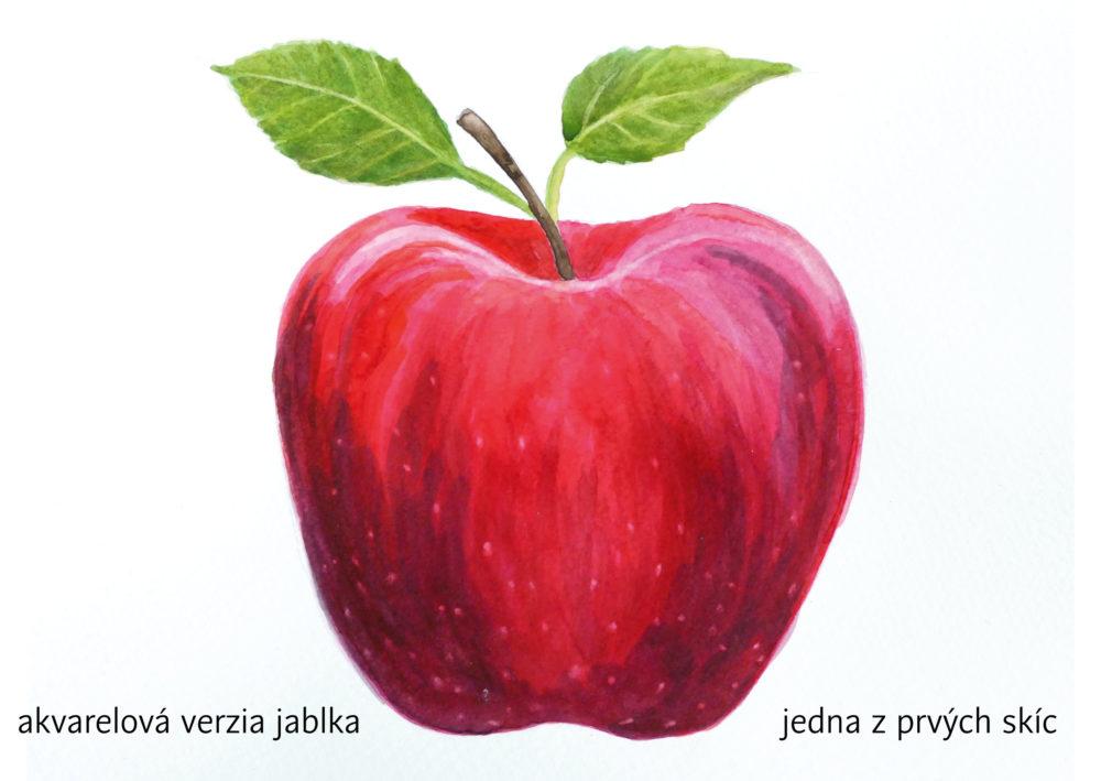 akvarelový obrázok jablka