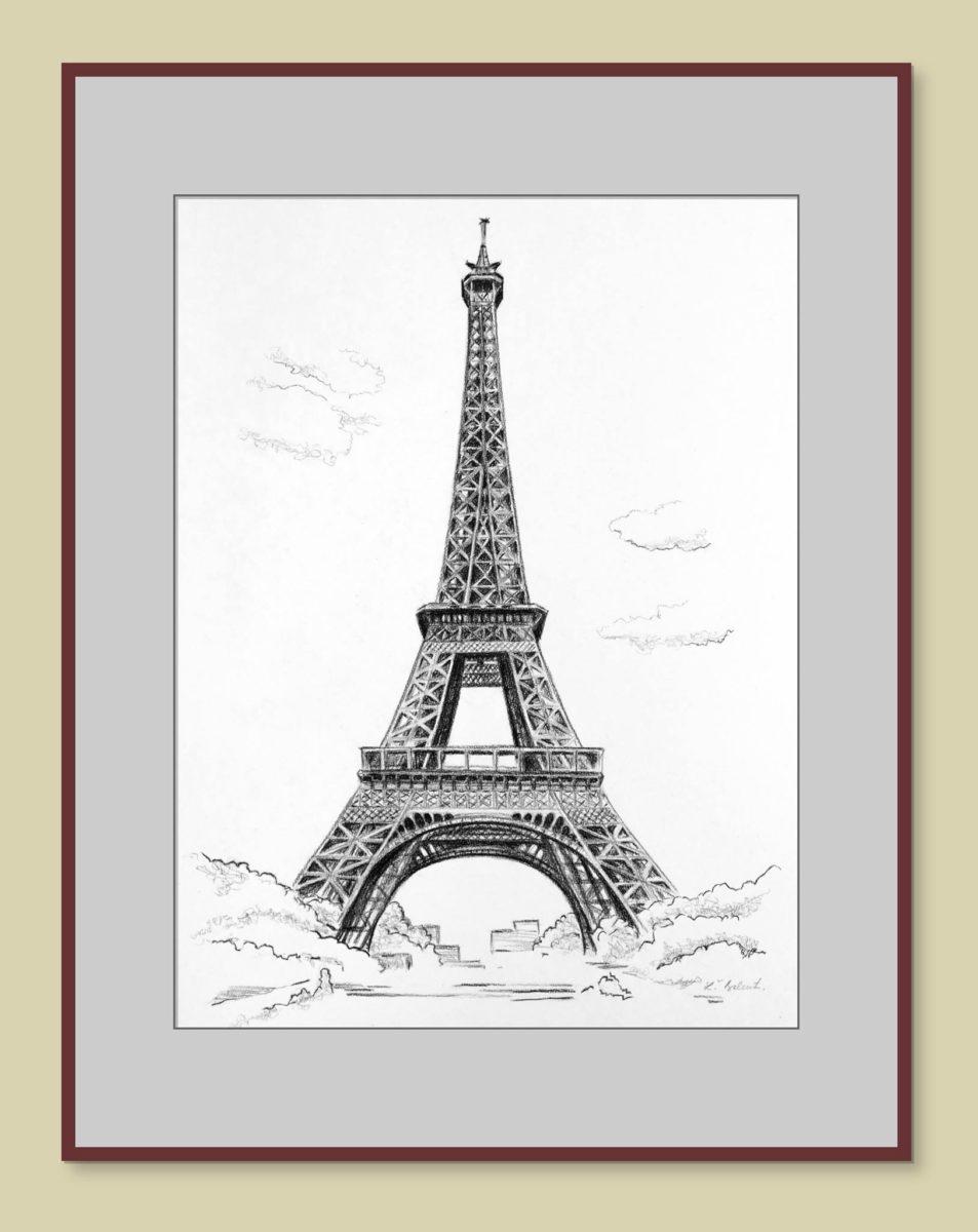 Eiffelová veža - obraz na stenu, kreslené uhlíkom
