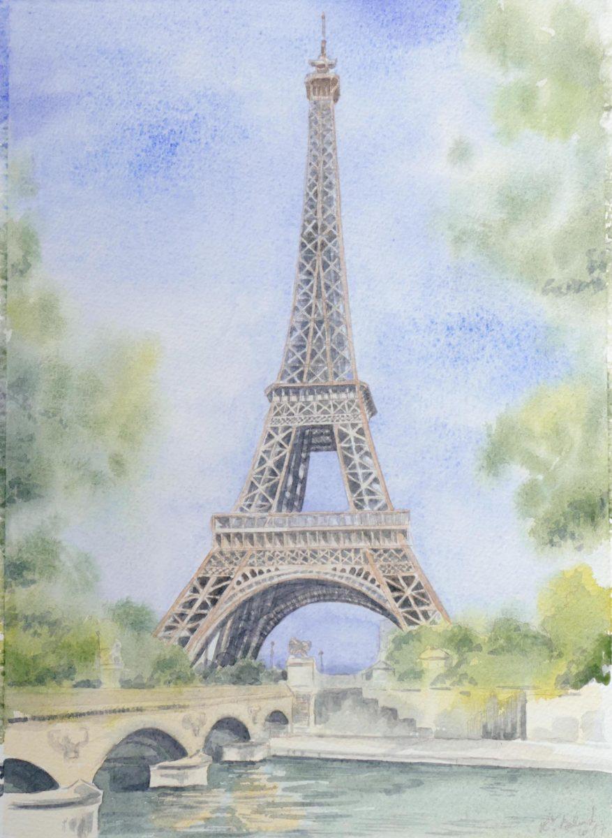 Eiffelová veža - kresba spojená s akvarelom