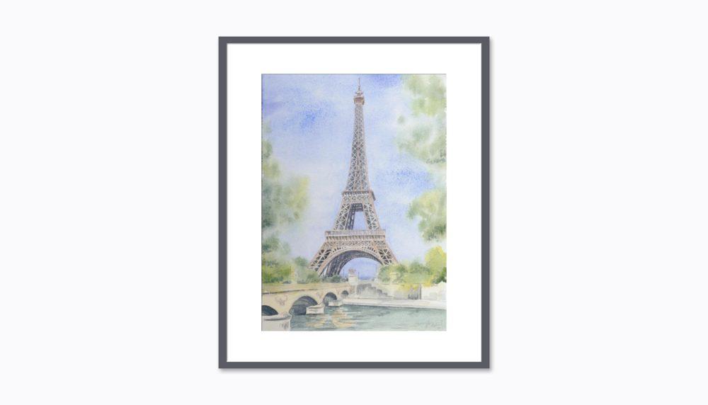 Eiffelová veža - Takto by obraz mohol vyzerať v ráme na stene
