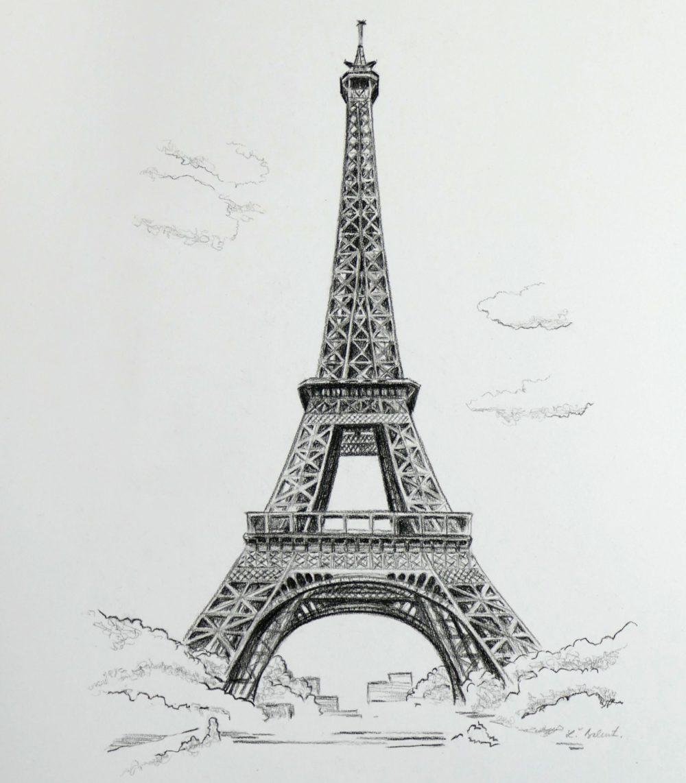 Eiffelová veža kreslená uhlíkom na objednávku