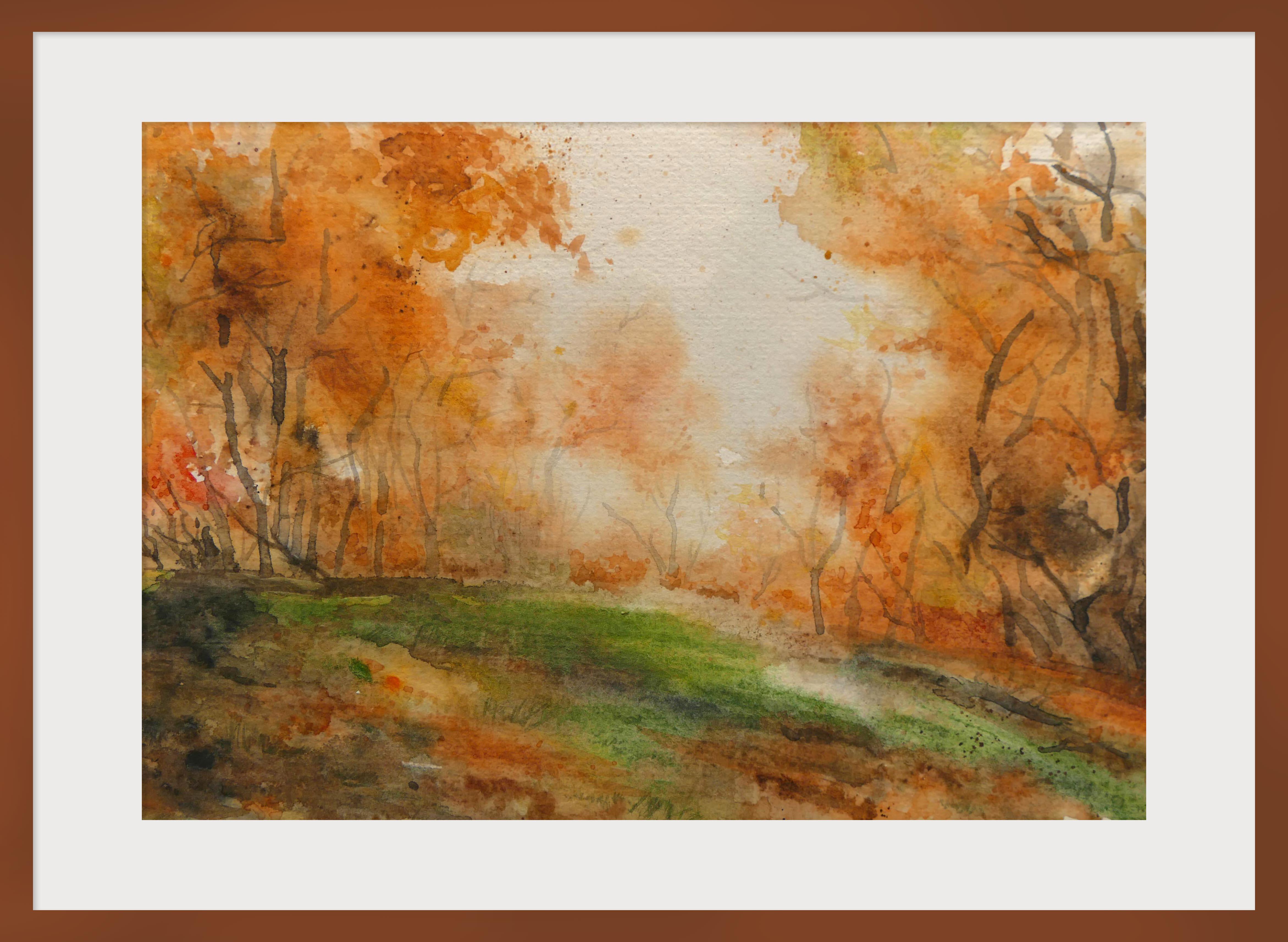 Jeseň v lese – akvarel