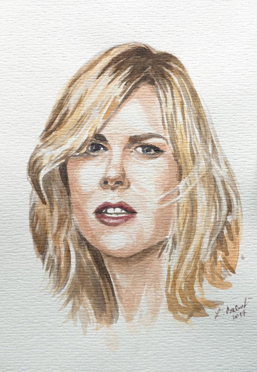 Portrét namaľovaný akvarelovými farbami