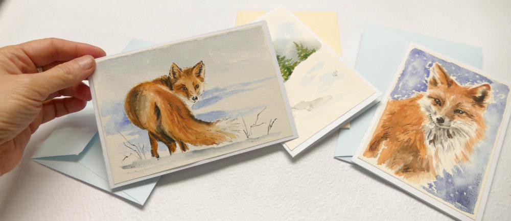 Pohľadnice s obrázkami zvieratiek, ručne maľované akvarelovými farbami