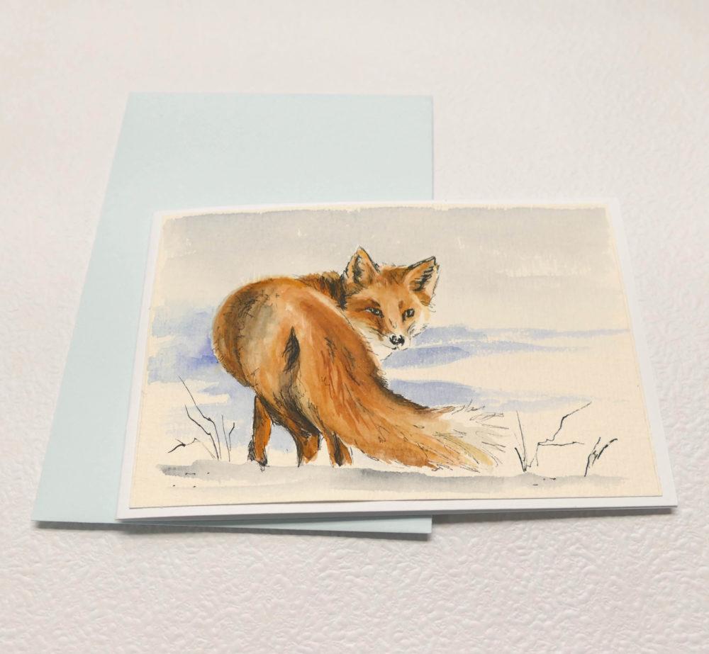 Maľovaná líška akvarelovými farbami