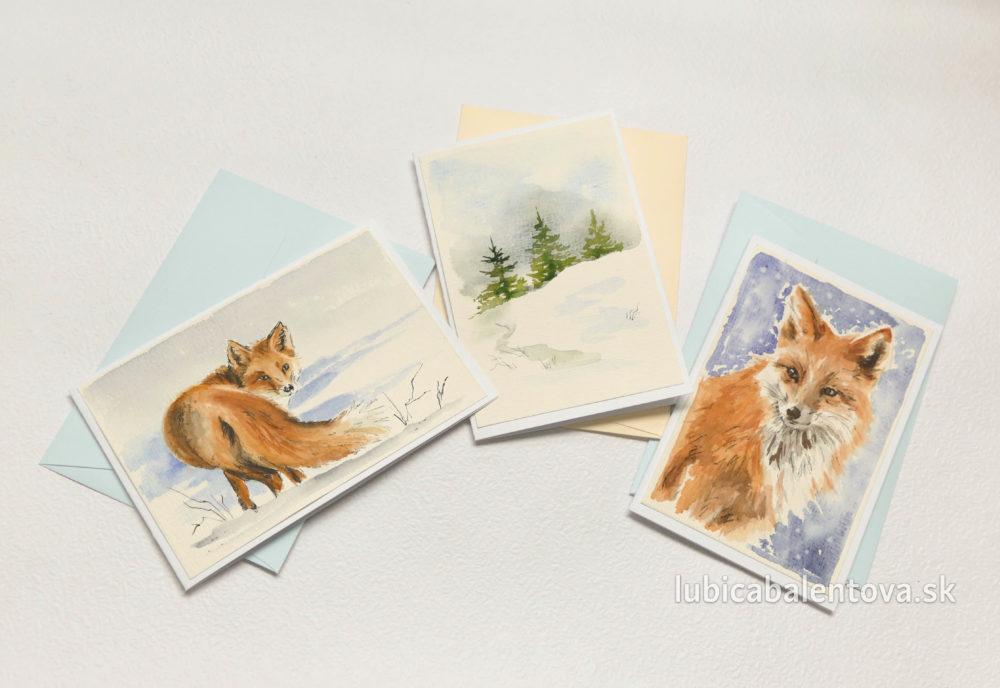 Ručne maľované pohľadnice akvarelovými farbami