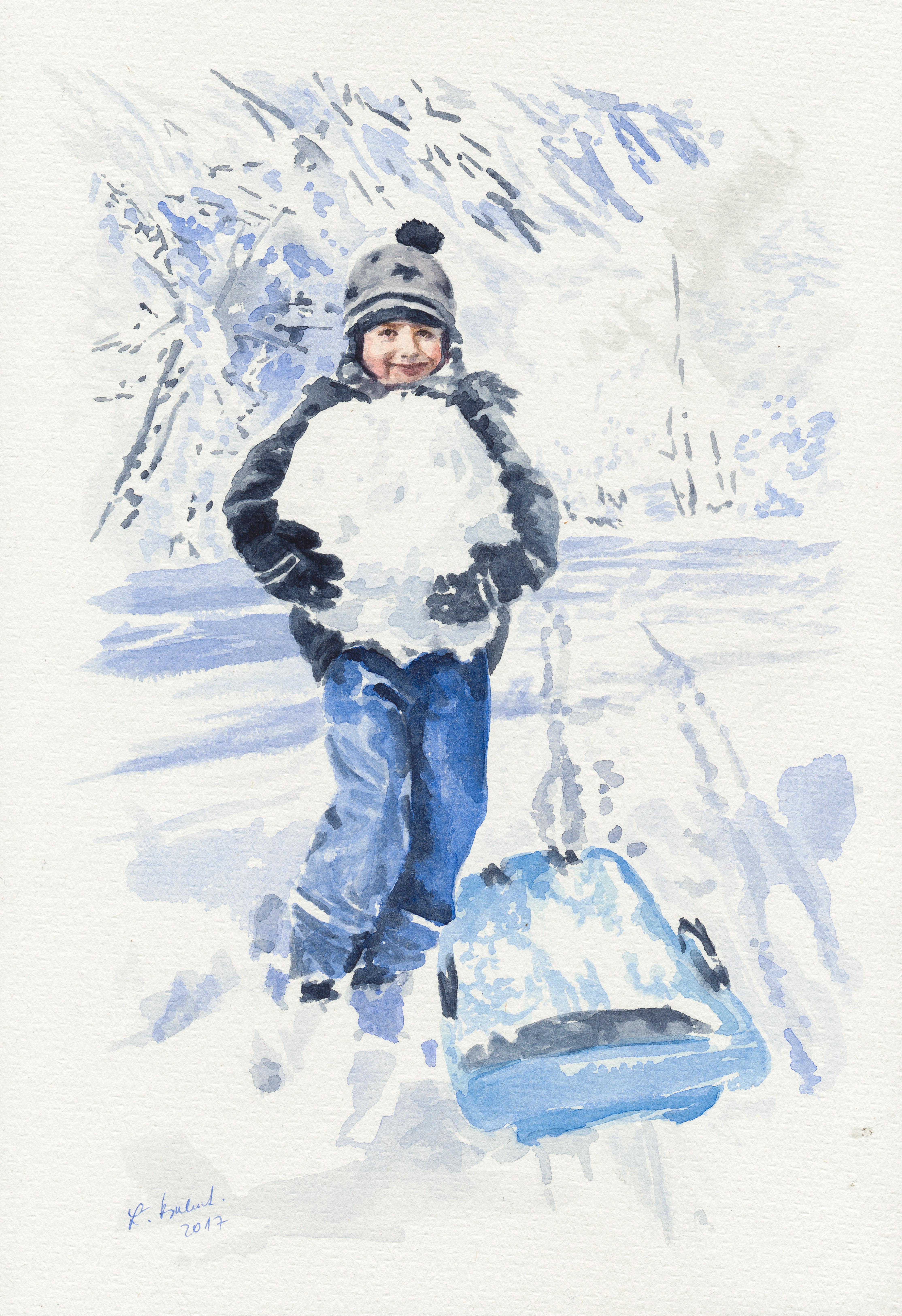 Chlapec so snehovou guľou – akvarelový obraz