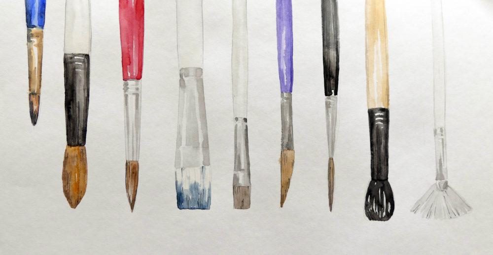 Akvarelové štetce - obrázok maľovaný akvarelovými farbičkami
