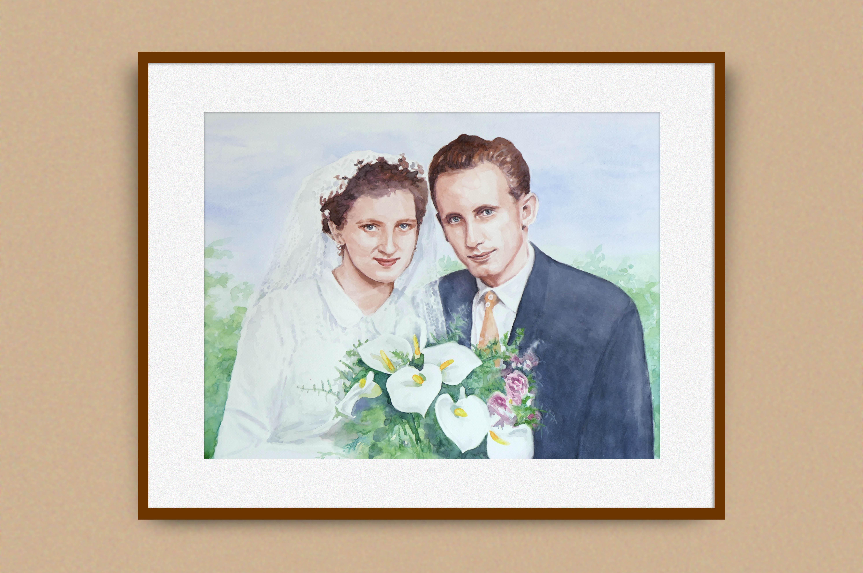 Akvarelový obraz podľa starej fotografie