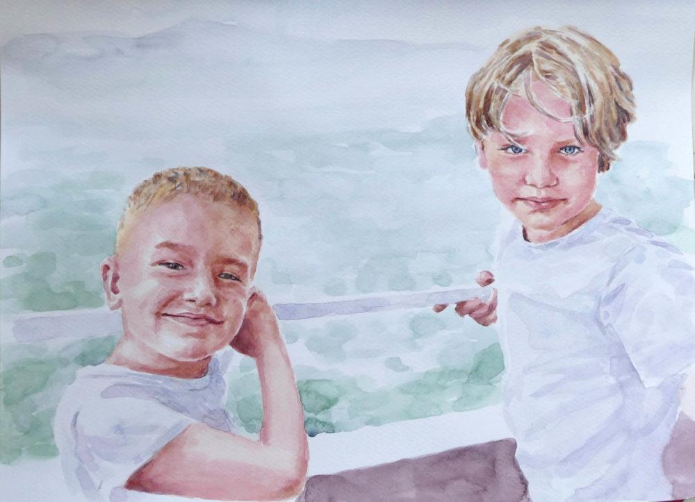 Akvarelový portrét dvoch chlapcov