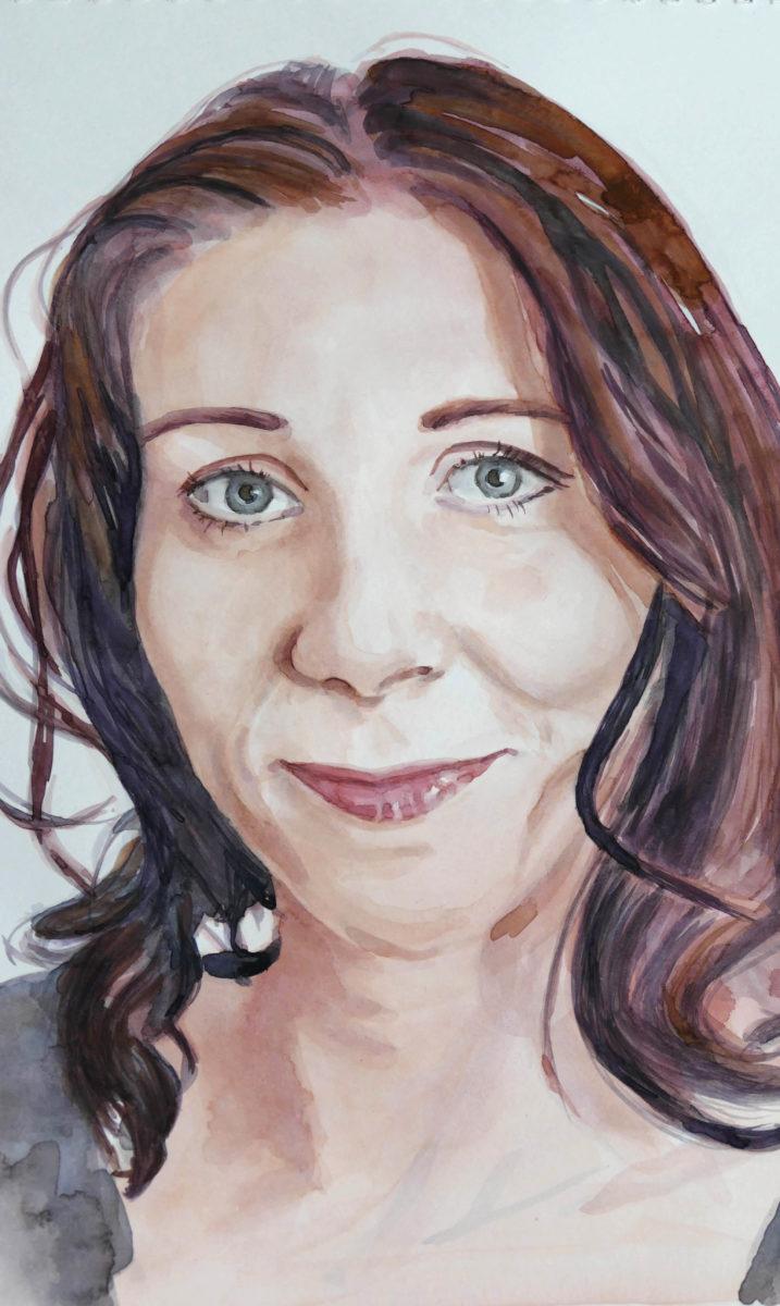 Akvarelový portrét ženy