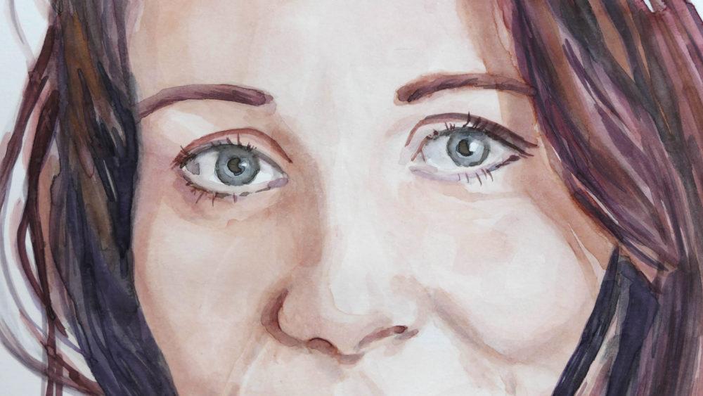 Akvarelový portrét ženy - detail očí