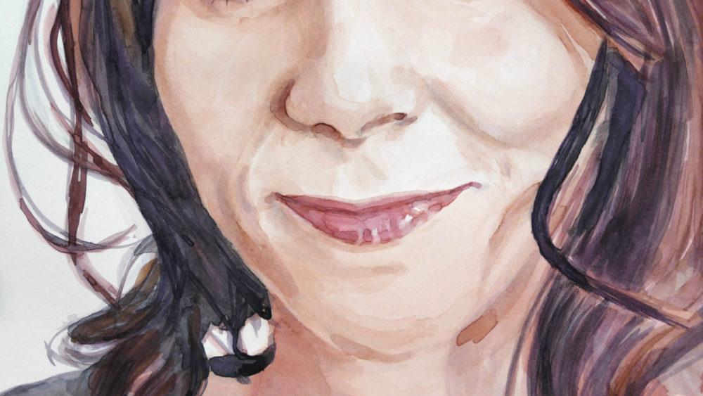 Akvarelový portrét ženy - detail