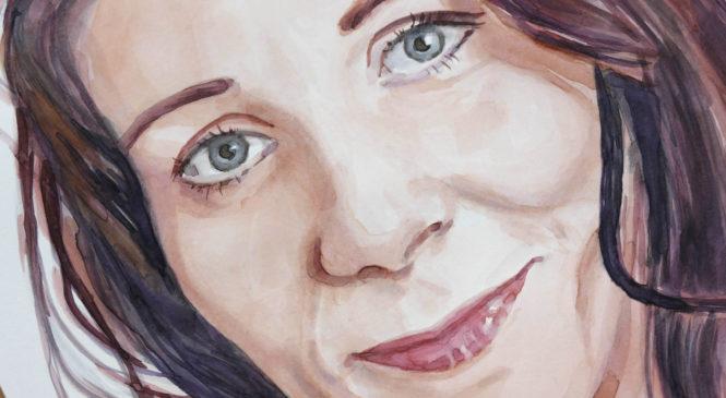 Akvarelový portrét ženy – Monika