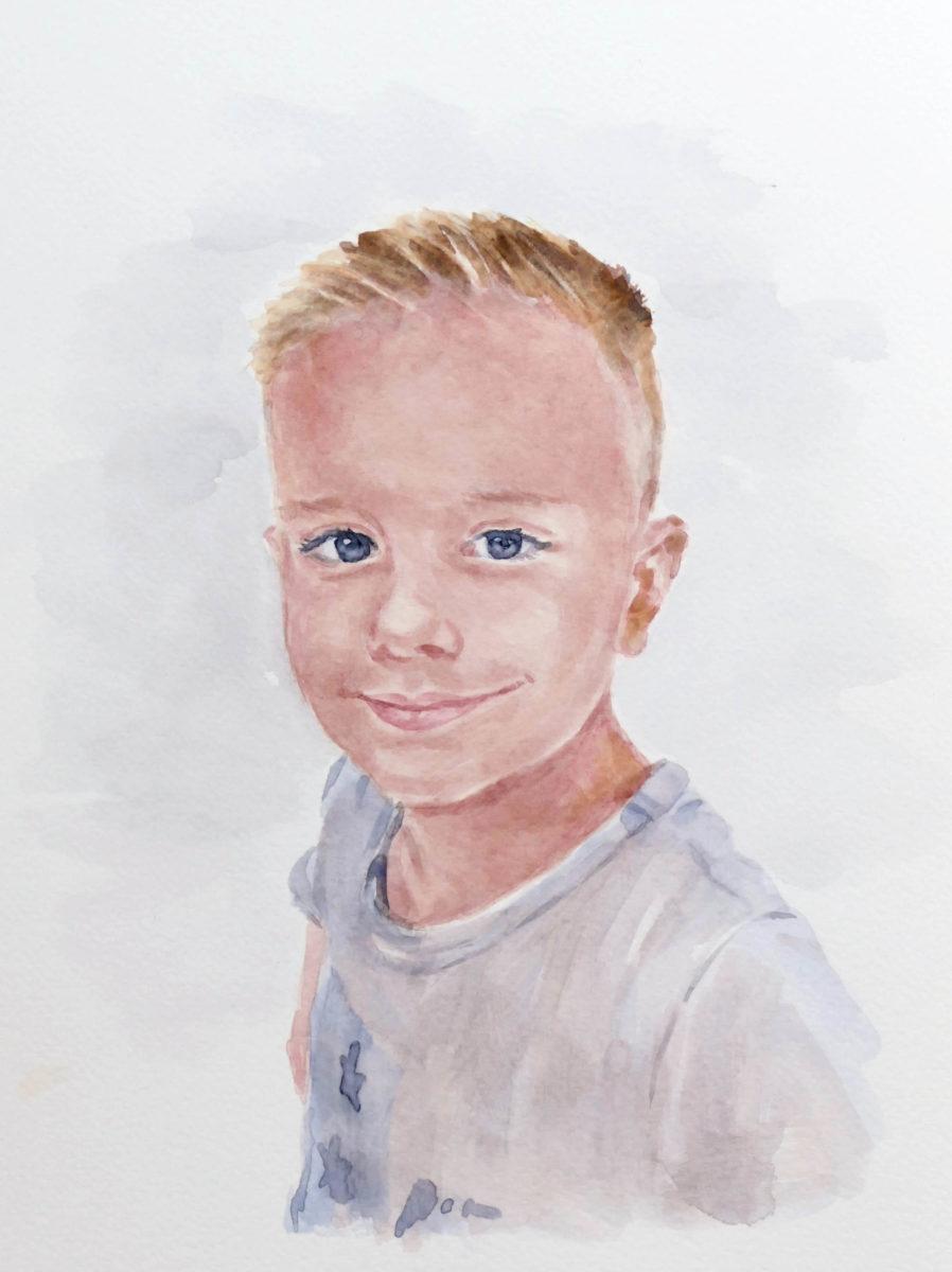 Akvarelový portrét chlapca
