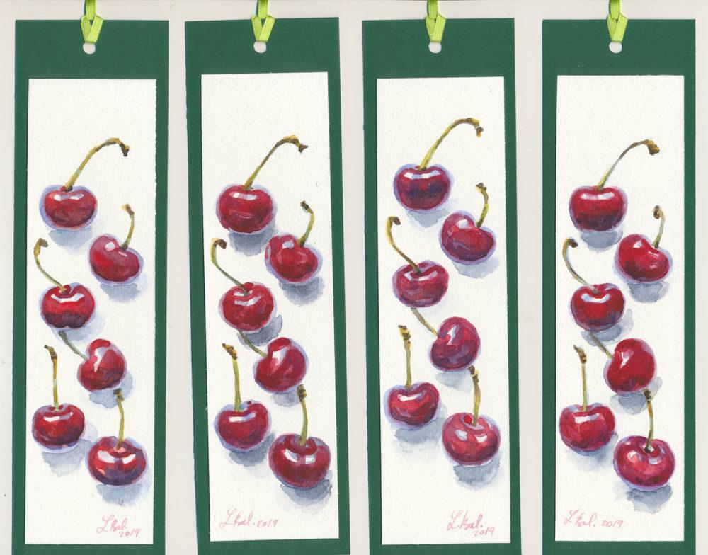 Akvarelové maľované záložky - čerešničky