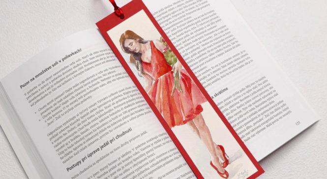 Akvarelové záložky do knihy – červené