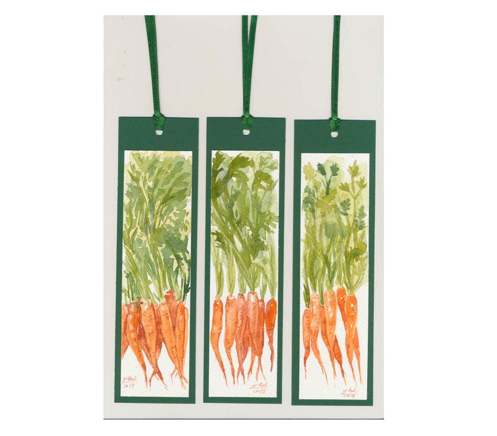 akvarelové záložky - mrkvičky