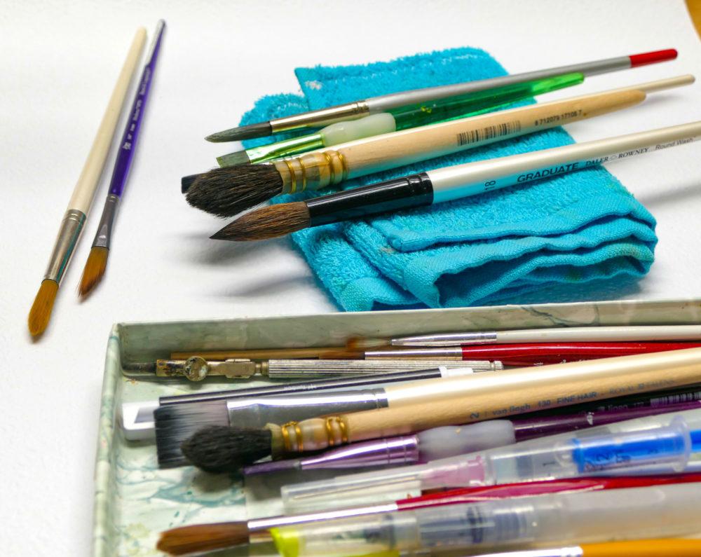 Sušenie akvarelových štetcov