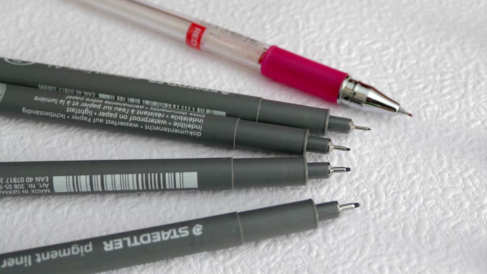 technické perá rôzne hrúbky